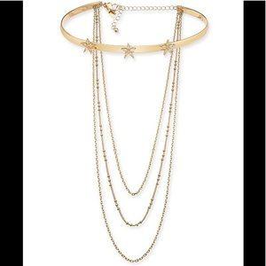 I.N.C Gold Multi-chain Star Flower Choker Necklace